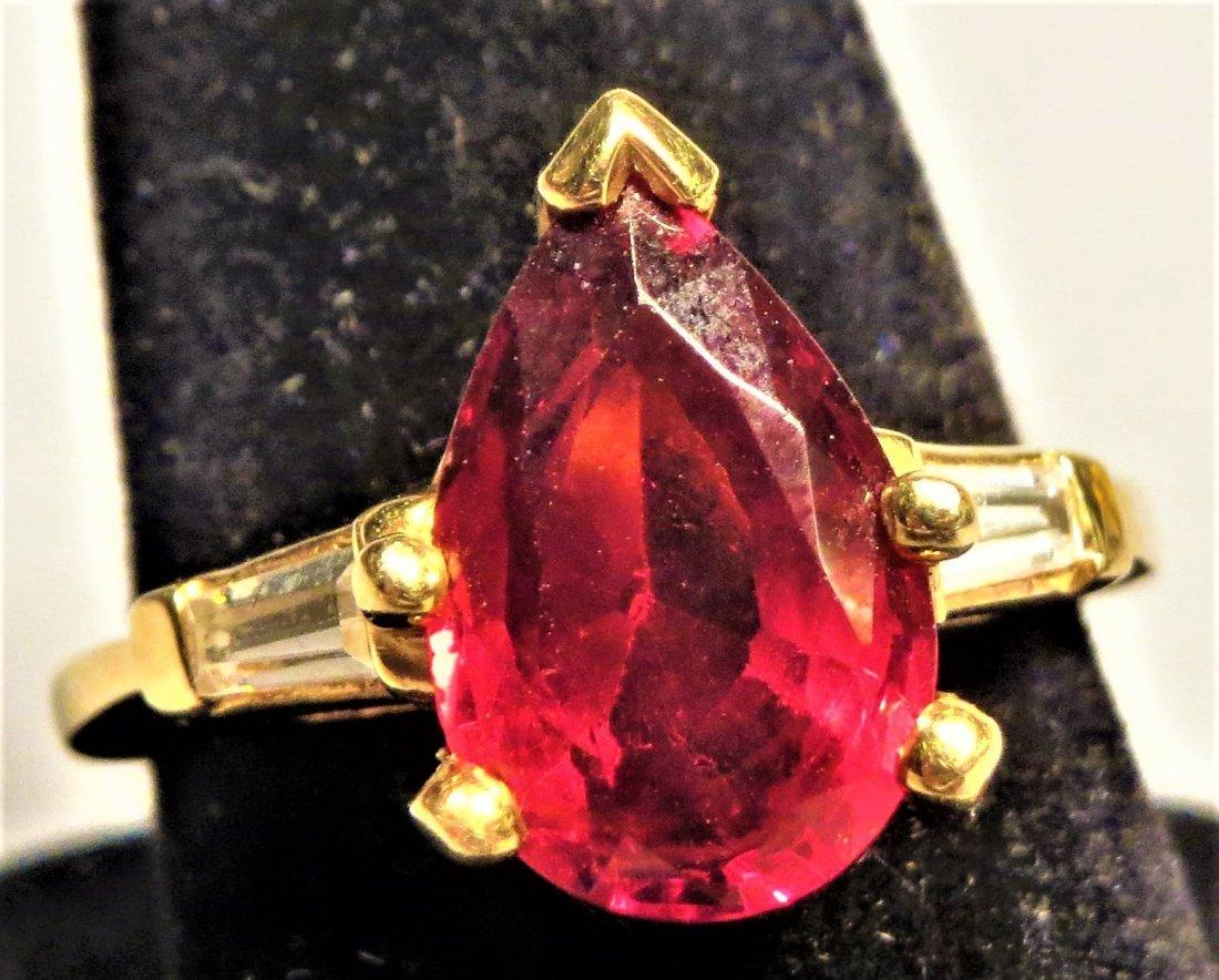 Beautiful 18k Rubellite Tourmaline & Dia. Ring