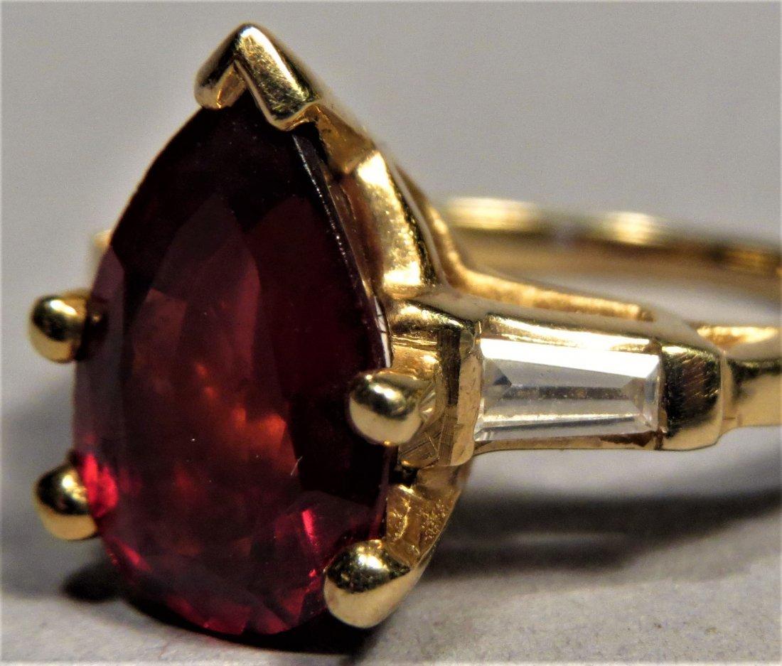 Beautiful 18k Rubellite Tourmaline & Dia. Ring - 3