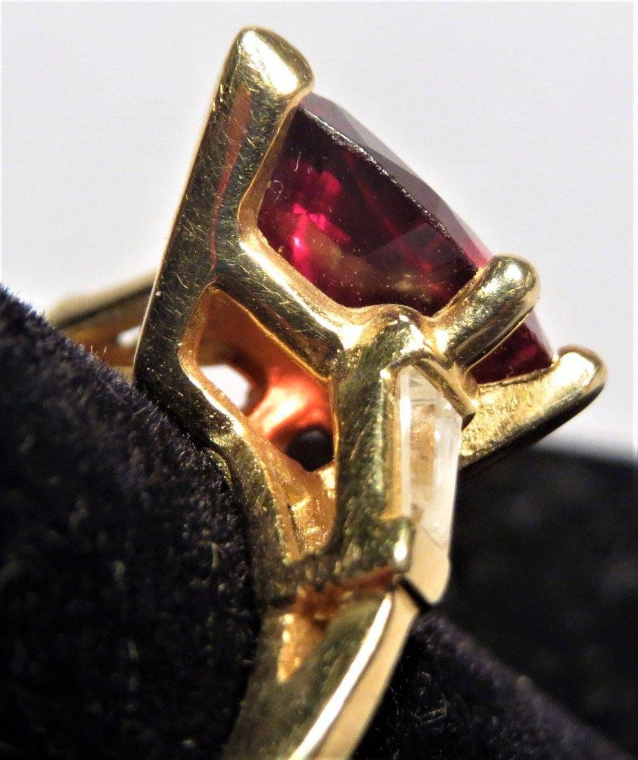 Beautiful 18k Rubellite Tourmaline & Dia. Ring - 6