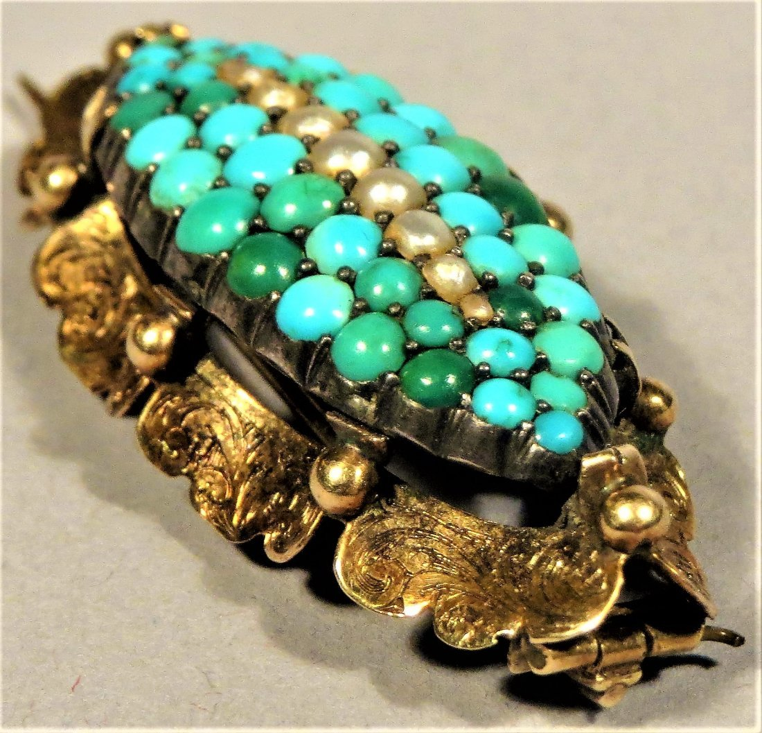 Beautiful Victorian Seed Pearl & Turquoise 14k Brooch