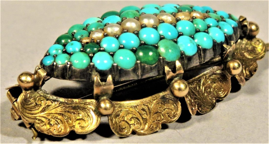 Beautiful Victorian Seed Pearl & Turquoise 14k Brooch - 2
