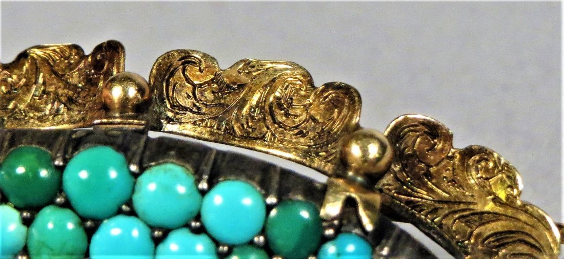 Beautiful Victorian Seed Pearl & Turquoise 14k Brooch - 5
