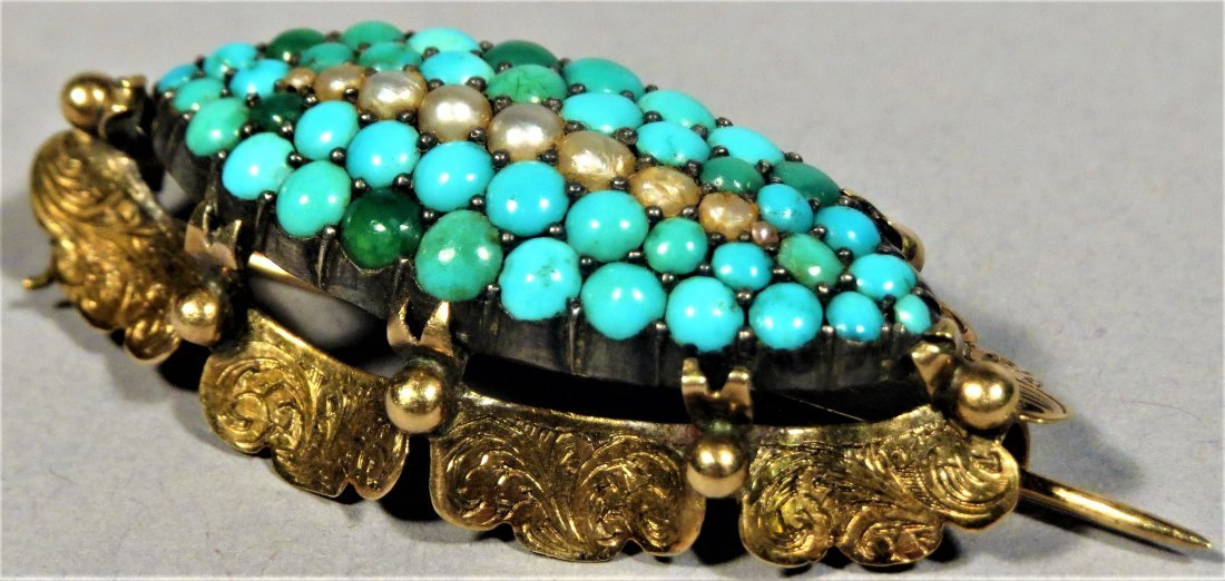 Beautiful Victorian Seed Pearl & Turquoise 14k Brooch - 6