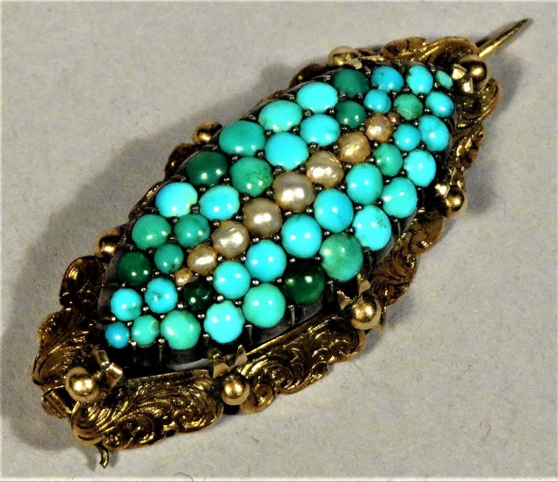 Beautiful Victorian Seed Pearl & Turquoise 14k Brooch - 7