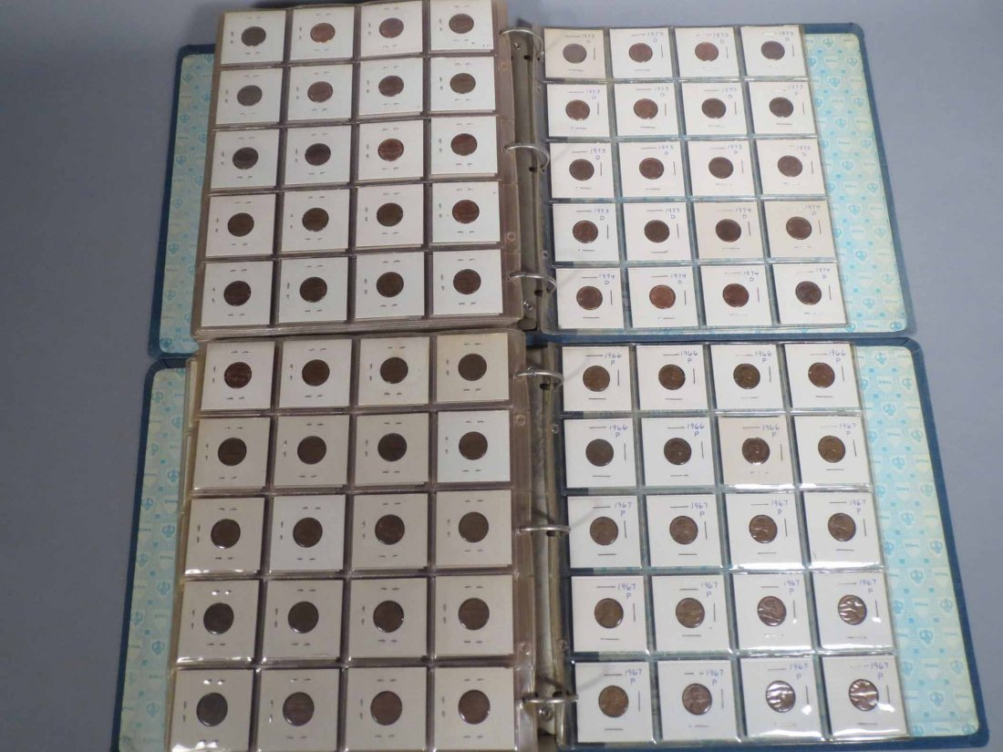 Lot of 600+ copper pennies all carded 1940 - 5