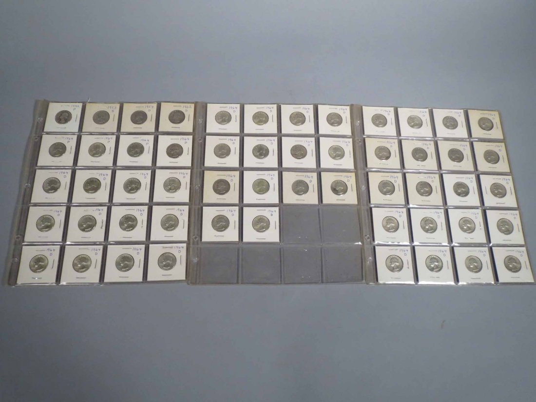 lot Of 54 Silver Quarters, Carded