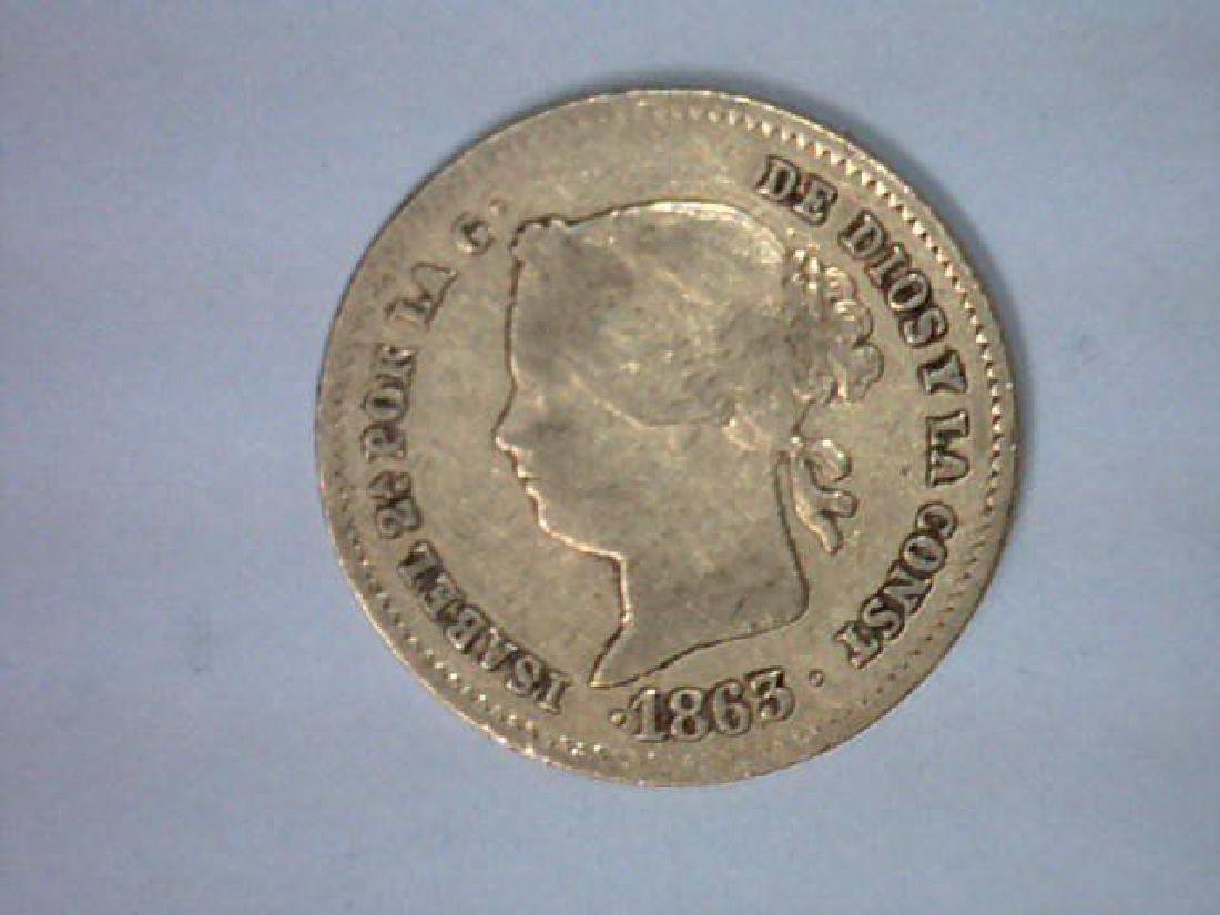 1863 Philippines Gold 2 Peso VF (.0952 AGW) Circulated