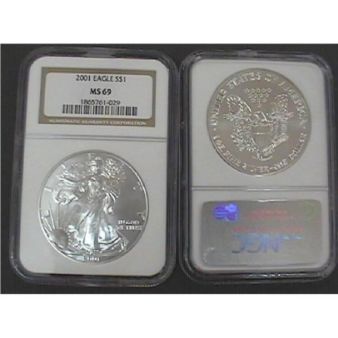 2001 NGC MS-69 American Eagle Silver Dollar