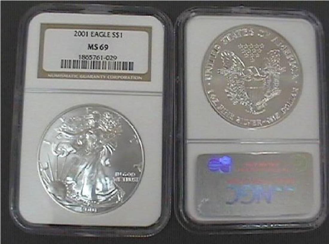 2001 NGC MS-69 American Eagle Silver Dollar - 2