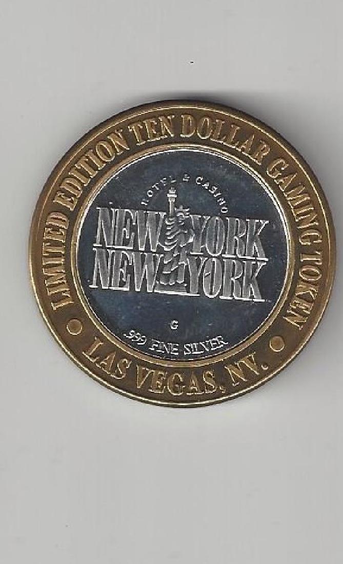 TEN DOLLAR GAMING TOKEN .999 SILVER NEW YORK - 2