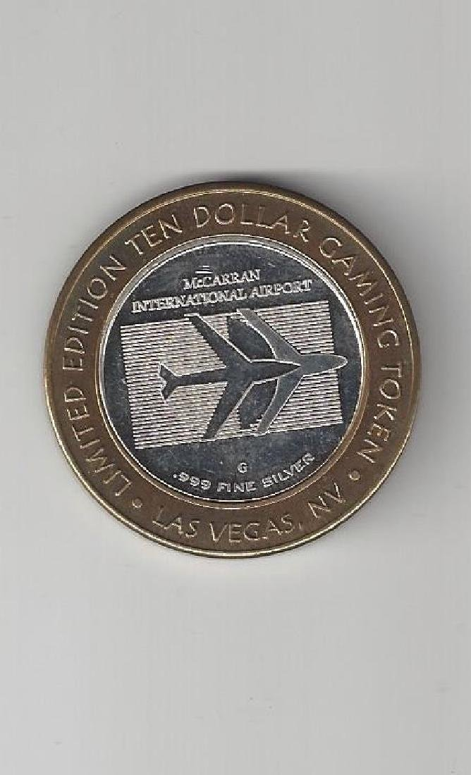 TEN DOLLAR GAMING TOKEN .999 SILVER MCCARREN AIRPORT