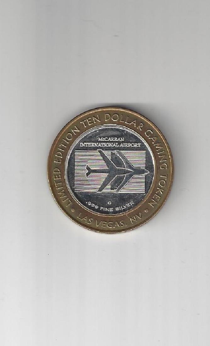 TEN DOLLAR GAMING TOKEN .999 SILVER MCCARREN AIRPORT