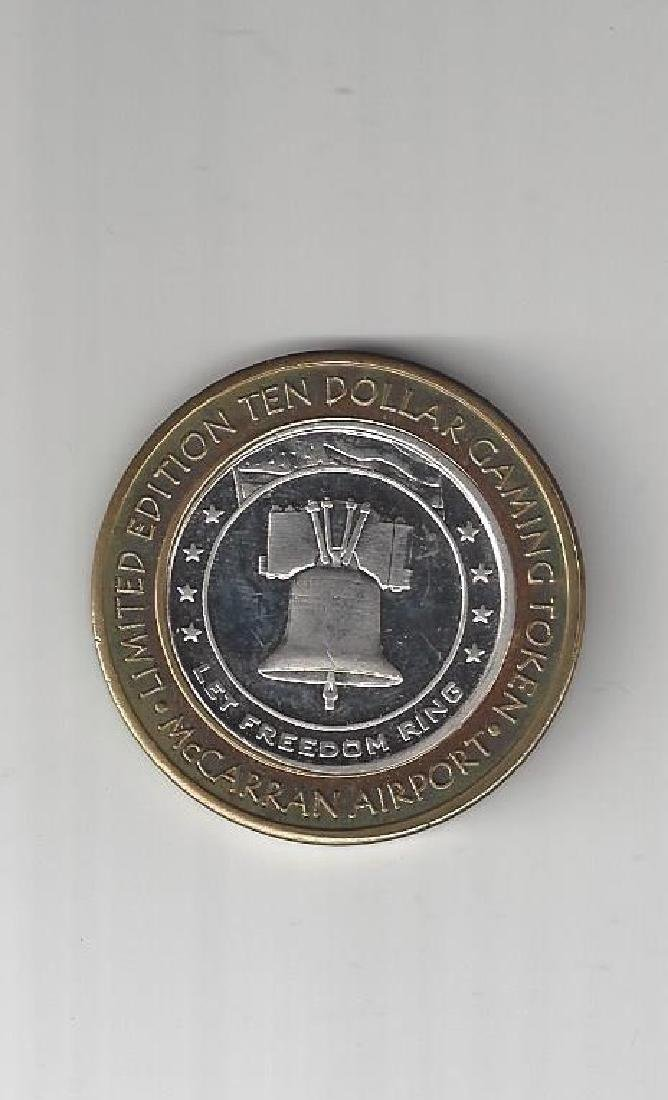 TEN DOLLAR GAMING TOKEN .999 SILVER MCCARREN AIRPORT - 2