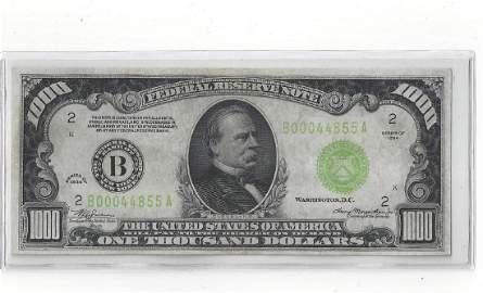 1934 U.S. $1000 DOLLAR FEDERAL RESERVE NOTE CU