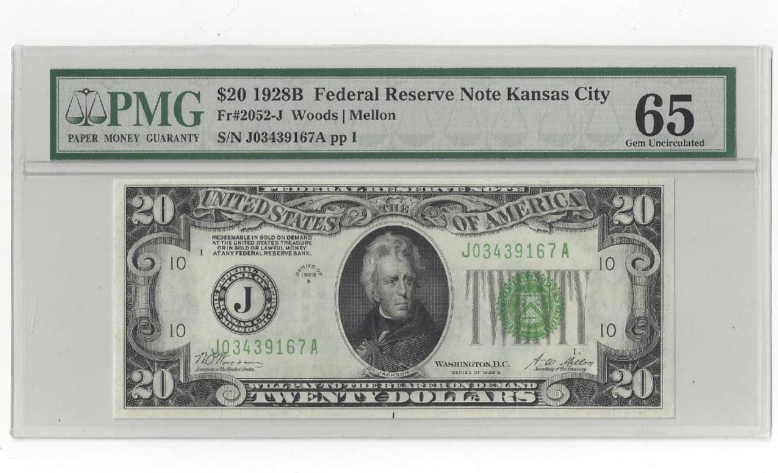 1928-B $20 DOLLAR FEDERAL RESERVE NOTE PMG-65