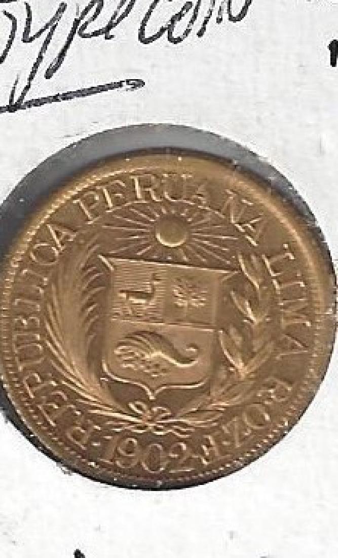 1902 PERU 1/2 LIBRA GOLD COIN UNC