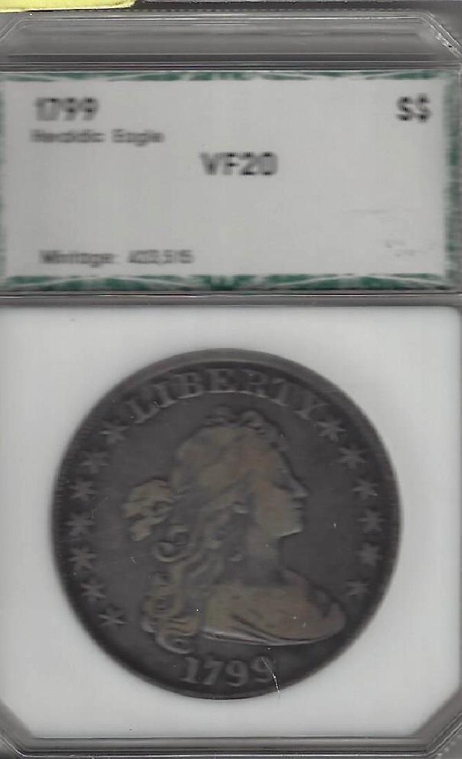 1799 DRAPED BUST SILVER DOLLAR VF-20