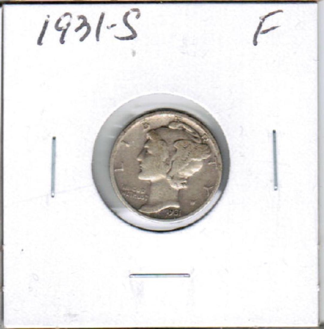1931-S SILVER MERCURY DIME FINE