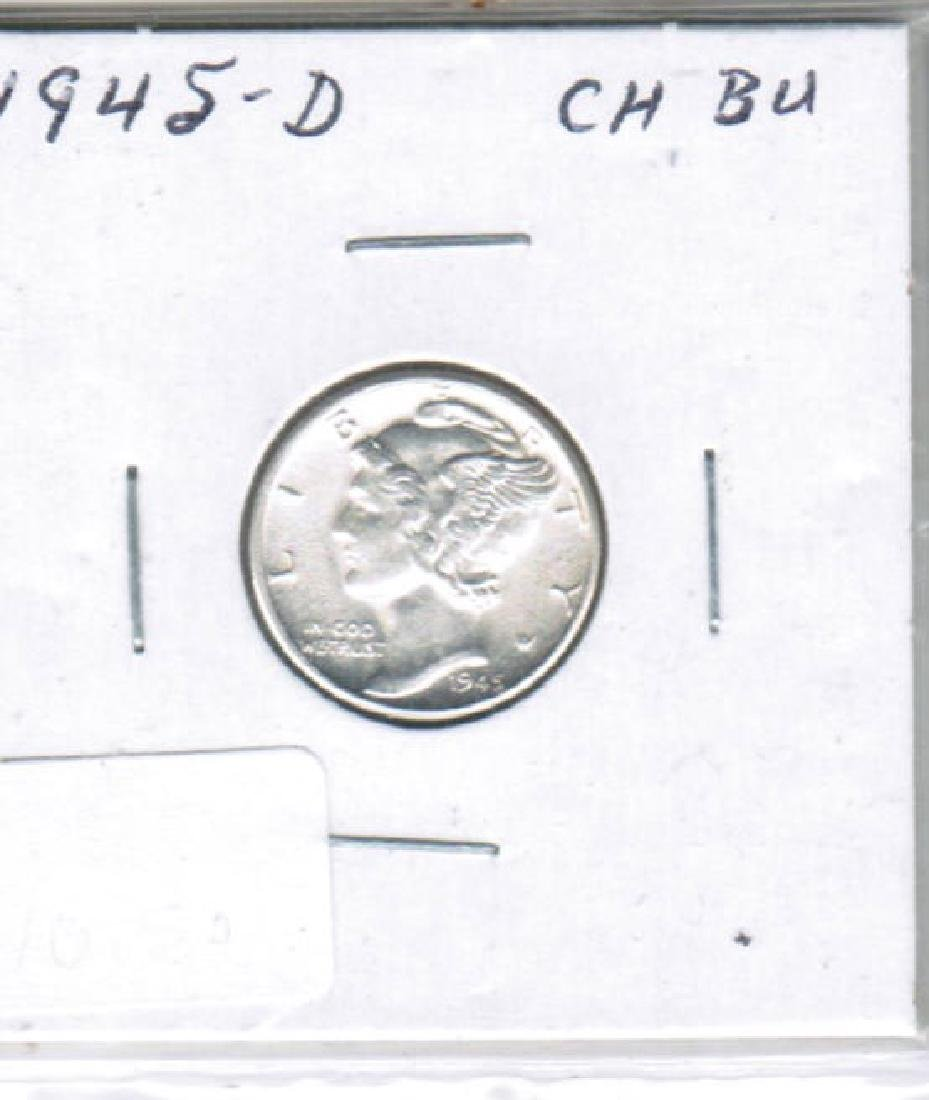 1945-D SILVER MERCURY DIME CHOICE BU