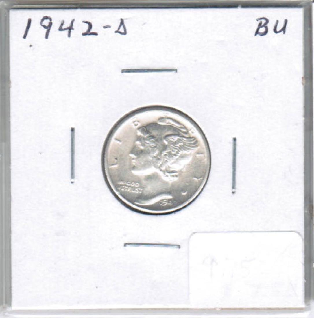 1942-D SILVER MERCURY DIME BU