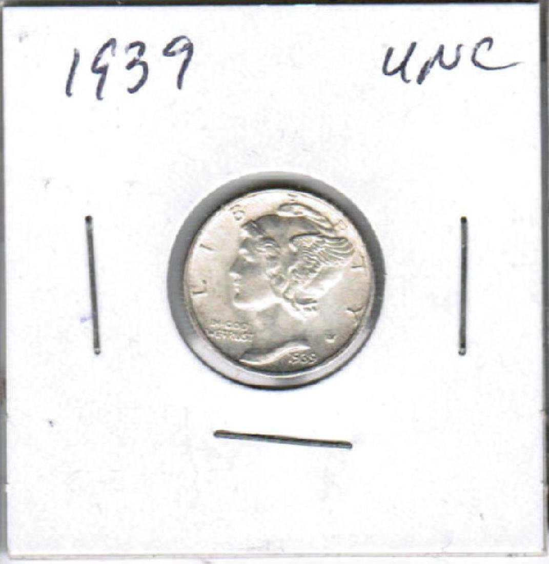 1939 SILVER MERCURY DIME UNC