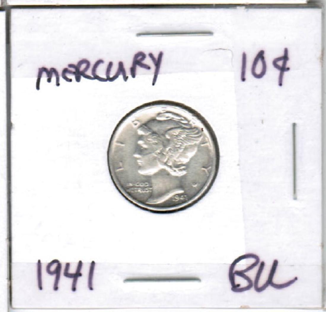 1941 SILVER MERCURY DIME BU