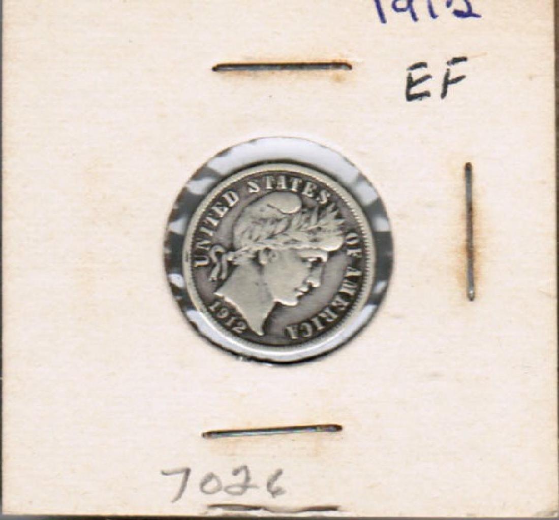 1912 SILVER BARBER DIME EF