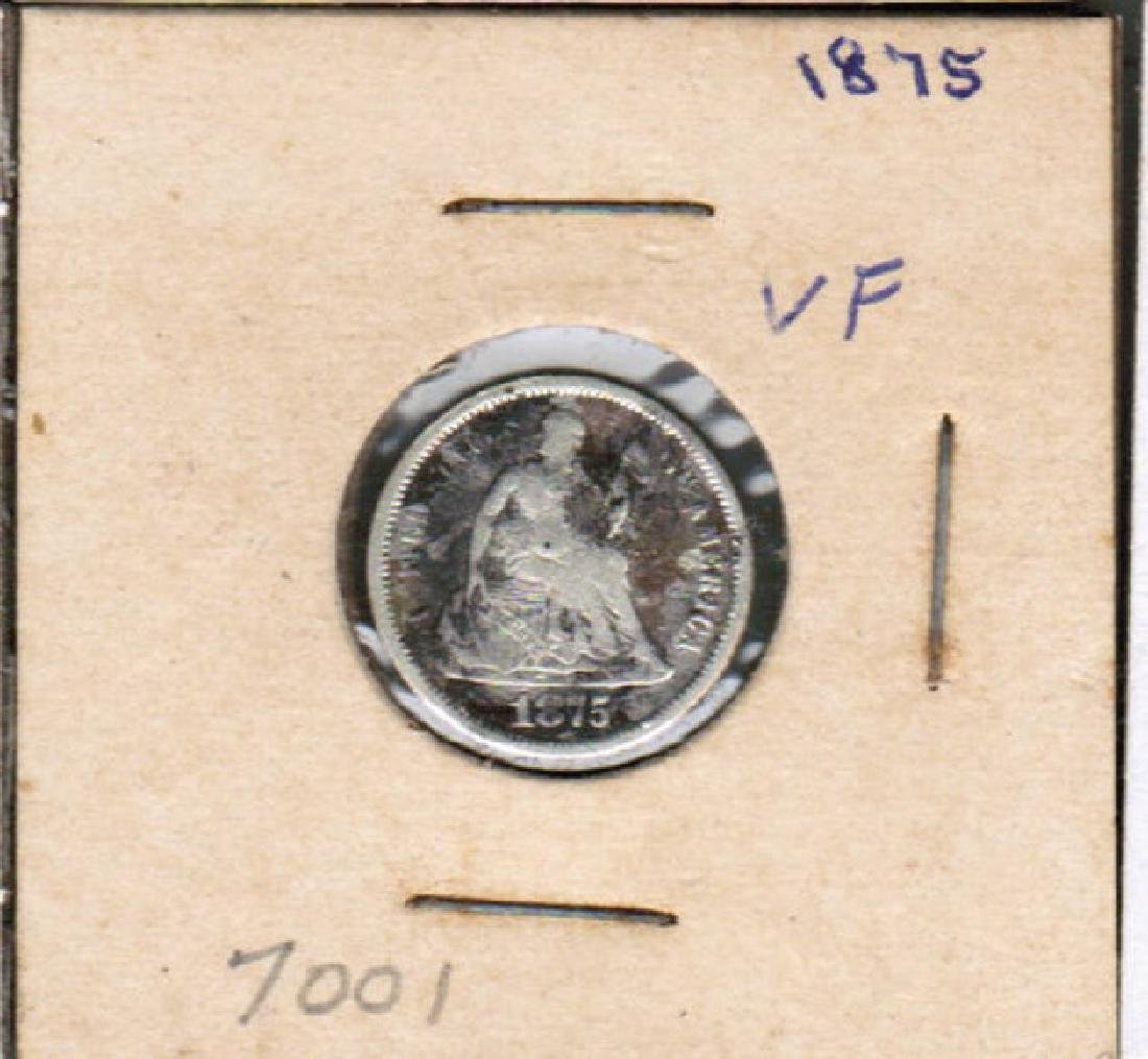 1875 SEATED LIBERTY SILVER DIME VF