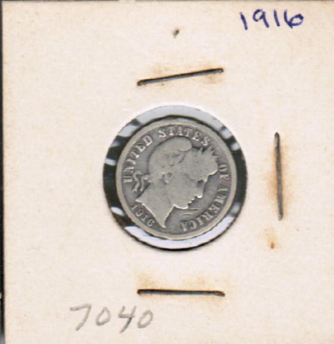 1916 SILVER BARBER DIME FINE
