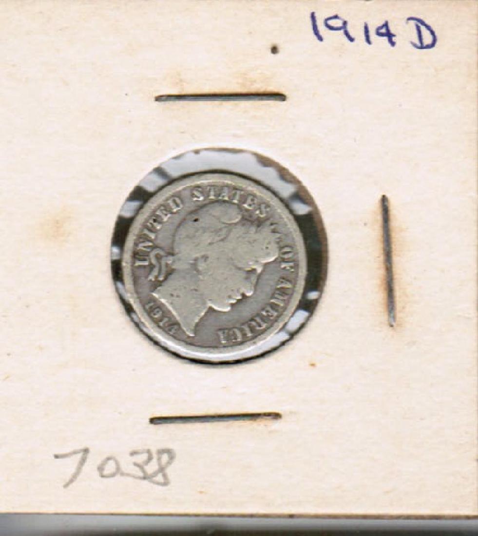 1914-D BARBER DIME SILVER VF
