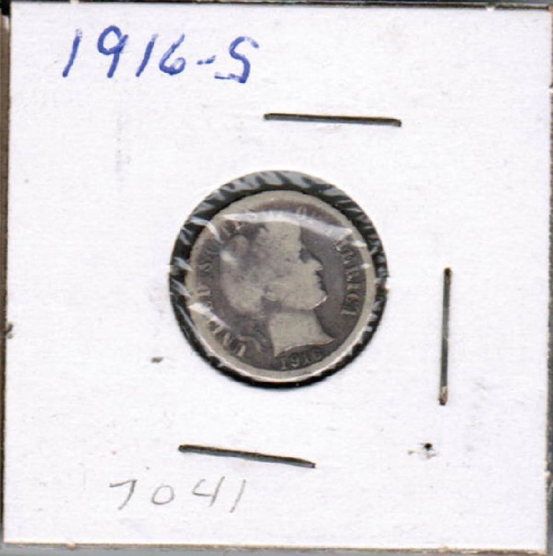 1916-S BARBER DIME SILVER VG