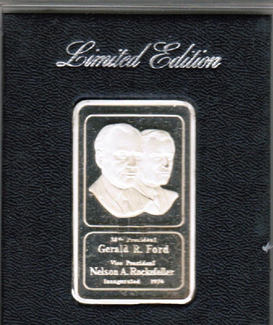 1974 1OZ SILVER BAR FORD/ROCKEFELLER GOLD PLATED