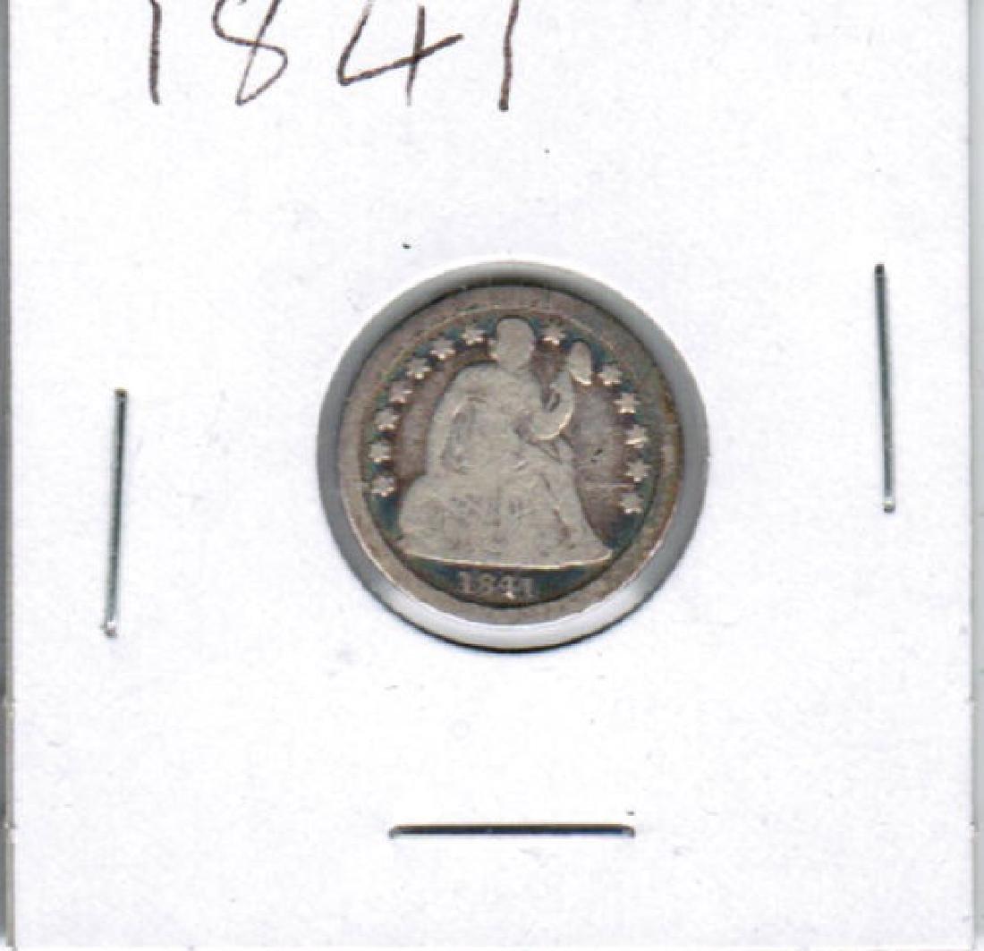 1841 SEATED LIBERTY SILVER DIME FINE