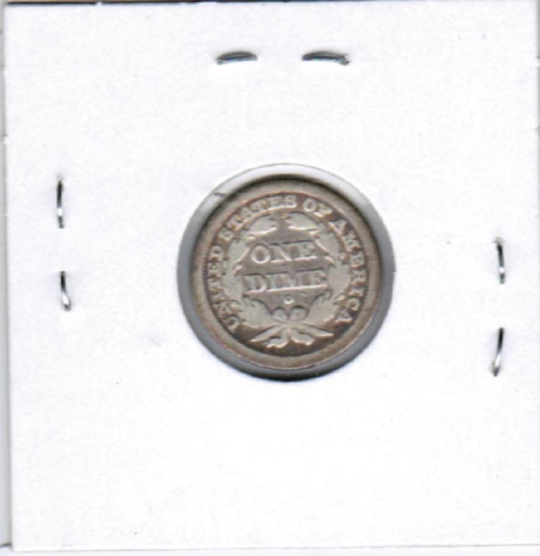 1841 SEATED LIBERTY SILVER DIME FINE - 2