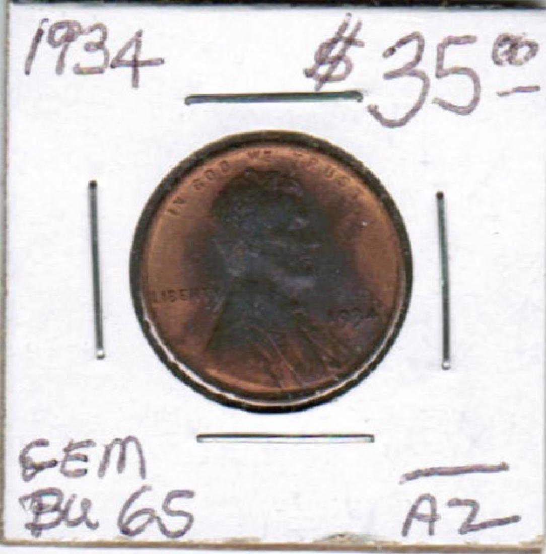 1934 LINCOLN WHEAT CENT BU-65 TONED