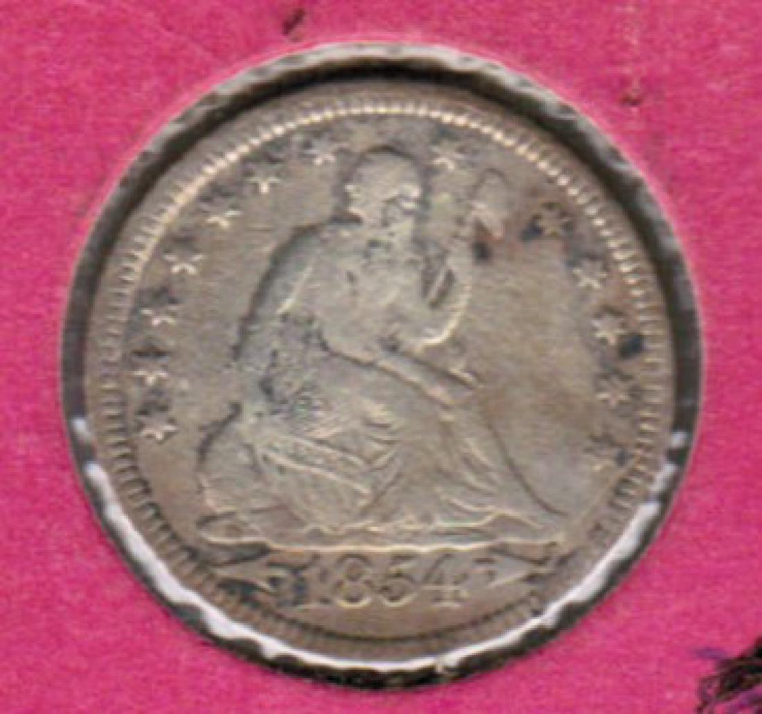 1854 SEATED LIBERTY QUARTER XF