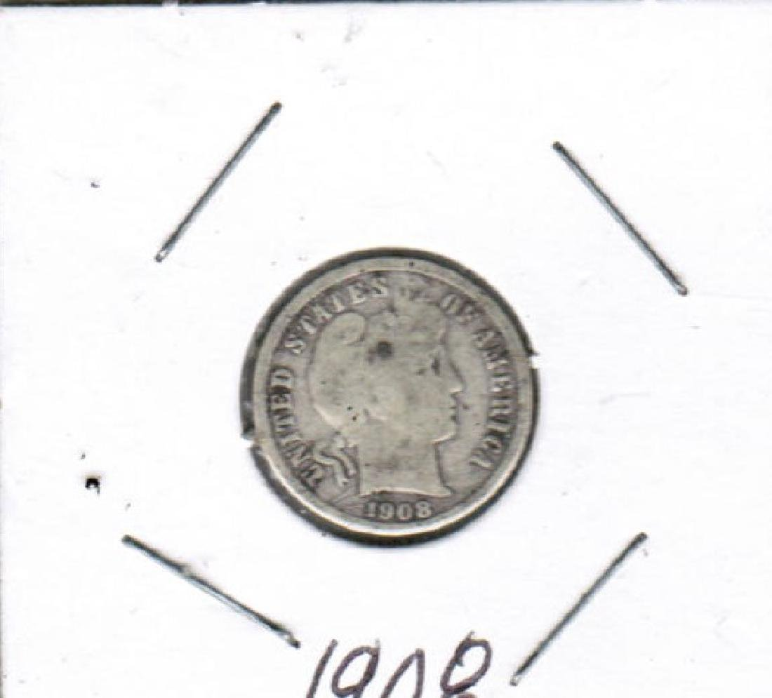 1908 BARBER DIME XF NICE COIN