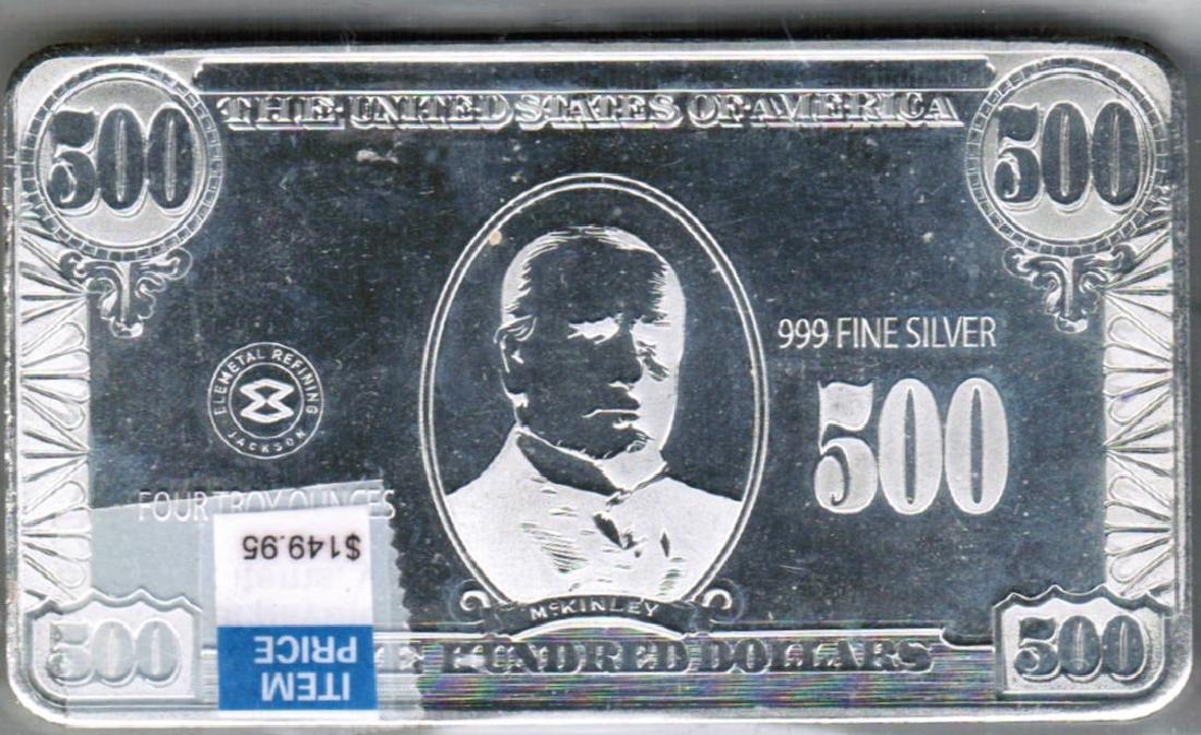 4 TROY OZ SILVER $500 BANK NOTE