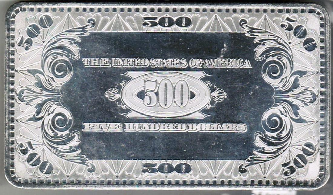 4 TROY OZ SILVER $500 BANK NOTE - 2