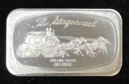 VINTAGE THE STAGECOACH SILVER ART BAR 1OZ .999 FINE