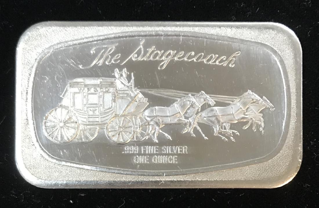 VINTAGE THE STAGECOACH SILVER ART BAR 1OZ .999 FINE