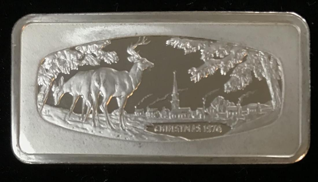 1976 Christmas 1000 grains Solid Sterling Silver Bar