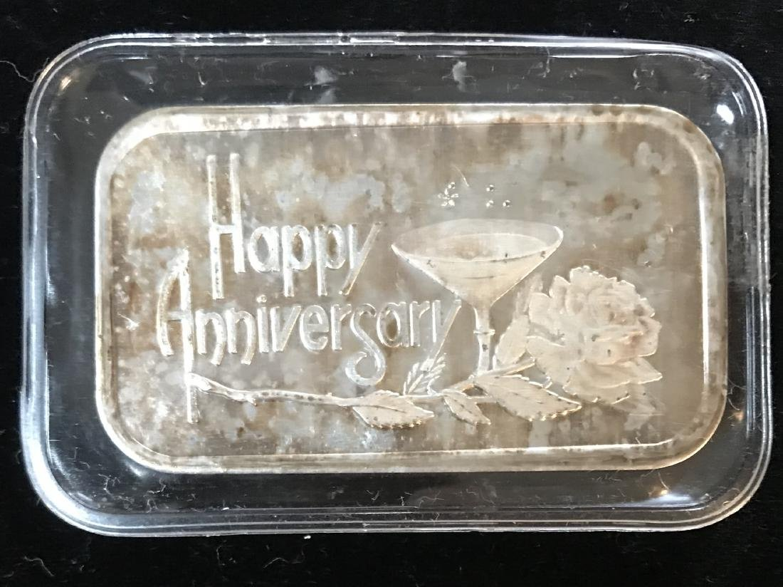 1989 Happy Anniversary Art Silver Bar 1 oz .999 Fine