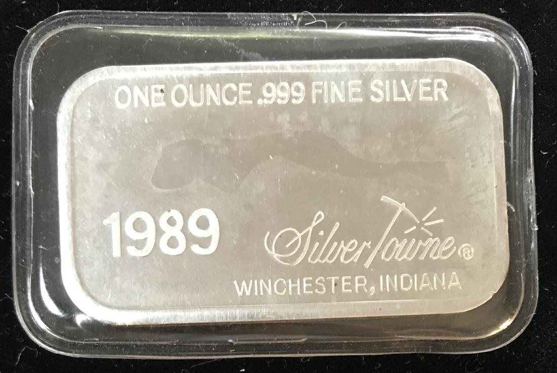 1989 Happy Anniversary Art Silver Bar 1 oz .999 Fine - 2