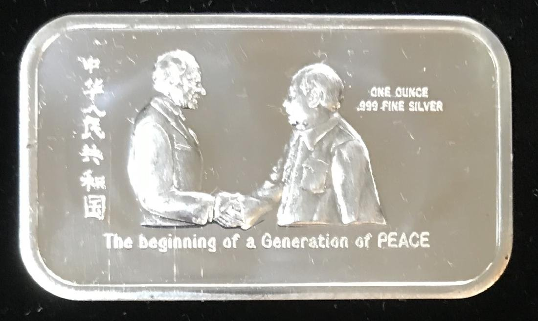 1973 Nixon-Mao Generation of Peace 1 oz .999 Fine