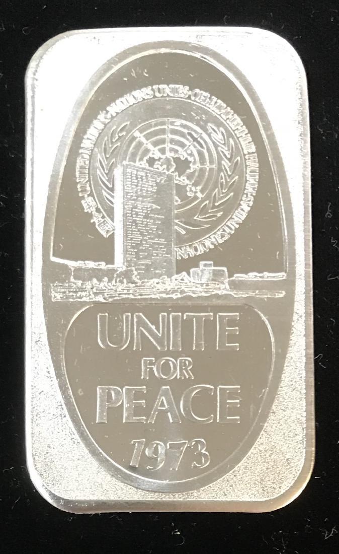 1973 Unite for Peace 1 tr oz .999 Fine Silver Art Bar