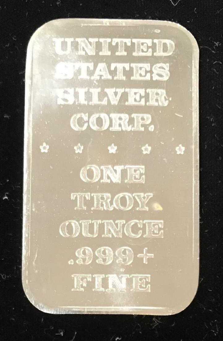1973 Unite for Peace 1 tr oz .999 Fine Silver Art Bar - 2