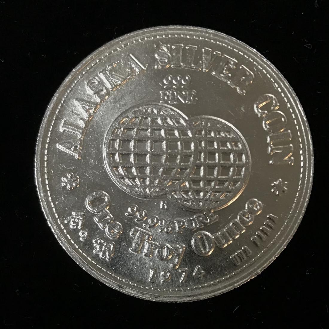 1974 Alaska Silver Coin 1 tr oz .999 Fine Silver 31.1