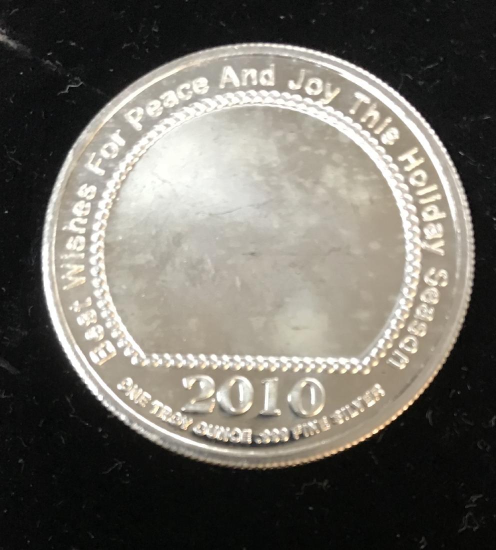 2010 Santa Christmas 1 tr oz .999 Fine Silver Round - 2