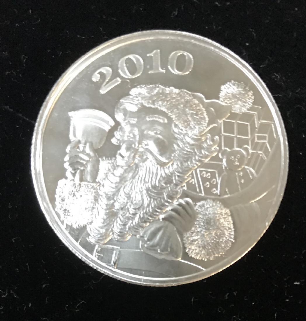2010 Santa Christmas 1 tr oz .999 Fine Silver Round